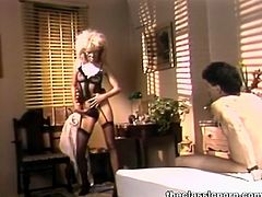 Watch this hot busty blonde retro porn-star babe sucking that huge cock and getting er hot and lusty pussy fucked hard in her bedroom.Enjoy this hot classic porn babe getting her hairy pussy drilled.
