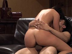 Check out this hardcore scene where a beautiful brunette babe takes a pounding from a large cock as you check her sexy body out.