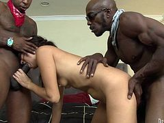 Sweet brunette girl fondles her vagina while taking a bath. Then she has wild threesome sex with Black guys. They fuck her hard in pussy and ass.