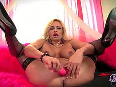 Pornstar Platinum brings you a hell of a free porn video where you can see how the nasty blonde Claudia Valentine dildos her sweet tight cunt into a spectacular orgasm.