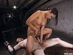 Unmerciful mistress ties the guy up and tortures his genitalia. Then he licks her feet and gets toyed deep with a strap-on. Annie Cruz also rides his dick in the end.