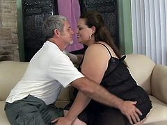 Have a good time watching this cute BBW, with giant bazookas wearing a black thong, while she goes hardcore with a horny gentleman.