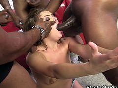 Have a look at this rough hardcore scene where the slutty Ashlynn Leigh ends up with a very messy facial after being gangbanged by big black cocks.