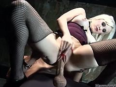 Take a look at this great bondage scene where the hot blonde Syren Sexton tortures her slave before he fingers and fucks her silly.