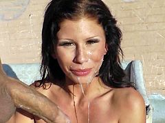 Have fun with this hardcore scene where the sexy brunette Brooklyn Lee ends up with her face covered by cum after being fucked by this guy outdoors.