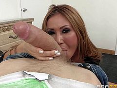 Glamorously beautiful asian milf Kianna Dior with adorable huge boobs is his best buddys hot step-mom. They fuck every Friday and this time he sticks his young hard dick in her meaty pussy again.