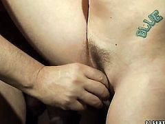 Blonde Anita Blue with huge knockers gives deep throat job to hot bang buddy