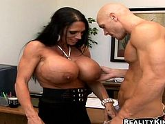 Dude is fucking his boss with huge tits hanging