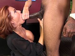 Check out this hardcore interracial video where the sexy redhead milf Veronica Avluv ends up with a messy facial after taking f a pounding from a big black cock.