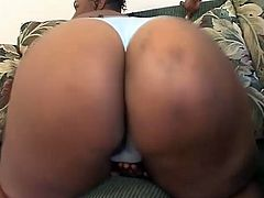 Tic Tak shakes her huge booty standing on all fours. Then she gives a blowjob and takes big black cock in her pussy.