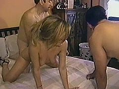 Threesome or double penetration. Call it the way you want, but this blond milf is going to experience both! She loves it in her twat with one in her mouth!