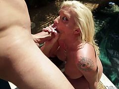 Tattooed Leya Falcon gets spanked and fucked outdoors