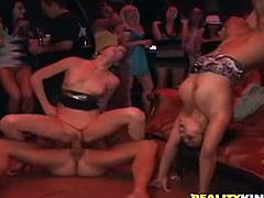 That's how dudes get these whores. Drinks and loud music are what accompany these people in the orgy! Wanna be there?