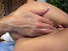Brunette slut starts with a dildo in her pussy and his fist up her ass to get it fucked hard!