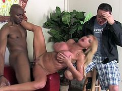 Her husband lost bet and she must fuck with this horny black dude on her pleasure. Watch her enjoyment in this interracial sex.