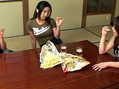 Cute asian babes are eager to play together during their naughty lesbian show