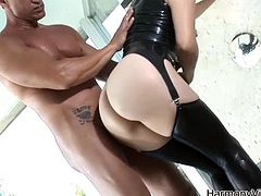 Take a look at this rough hardcore scene where the sexy brunette Bobbi Starr is fucked silly by a large cock.