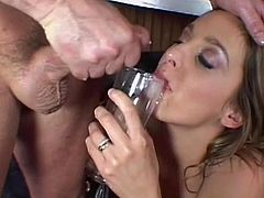 Nothing beats a strong cock pounding her puffy twat and splashing jizz on her face