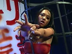 Annie Cruz gets bound in a sex swing and fucked silly with a strap on! Beautiful pussy gets demolished swinging from side to side!