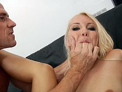 She is a divine blond and she will be sucking a big cock for an erection to feel in her hot beaver. Every move of his cock gives her something special.