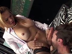 Salacious blonde shemale Miresa is having fun with some dude indoors. They pet each other and stroke each other's cocks and then the ladyboy drills the guy's ass in missionary and other positions.