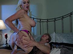 Blonde in Stockings Gets Fingered Then Fucked Hard