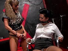 Needy babes are enjoying a nasty femdom lesbian porn show together