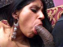 Sulmi sucks a dick and gets fucked in a sideways position at the same time. Later on this Indian hottie gets her mouth filled with cum massively.