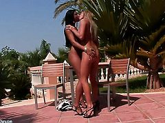 Brunette Natalia Forrest and Ashley Bulgari stretch each others cunt with passion
