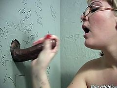 Today, Candy Monroe is visiting us at the gloryhole. Watch this sexy blonde sucking a stanger's cock and taking his cum in her mouth.
