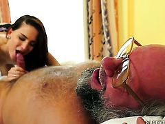 Brunette vixen gives unthinkable deep blowjob hot guy
