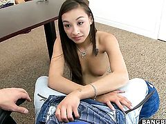 Arial Rose with small boobs and smooth twat enjoys the warmth of hard pole deep in her vagina