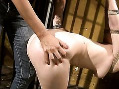 Blonde tart with juicy melons is ready to touch Mandy Brights wet hole 24/7