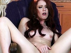 Elle Alexandra strips down to her bare skin and fucks herself with sex toy