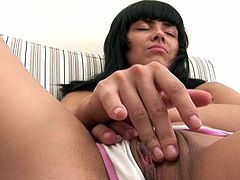 Lovely young Milla feels great when deep stimulating her pussy during solo cam show