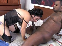 This astonishing cougar with big boobs caught toying her cunt and got fucked hard by that black dude. Enjoy watching this interracial hardcore sex.