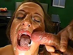 Nasty babes are eager to have their faces splashed by massive cum loads