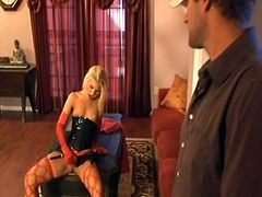Sweet blondie in sexy lingerie plays with her pussy. Then Aubrey takes big hard pussy pounding and gets her pretty face cum covered.