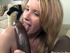 This white girl has a secret. She loves black cum! she lets this hung, ebony stud fuck her brains out then fill her pussy with his jizz.