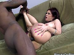 Tiffany is a cougar on the hunt who brought home a hung, black stud. She wasted no time giving him head and giving up that ass.