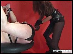 Mistress jane fucks her slave with a huge strapon