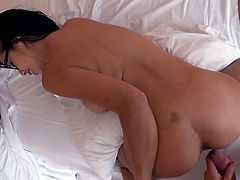 Exotic busty brunette Kimmy Lee blows and gets fucked and facialed