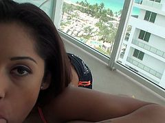 Long haired gorgeous looking hungry-mouthed ebony wench gets her sinful eating hole rigorously invaded by impossibly long schlong. Watch this awesome cock suck in Mofos Network porn clip!