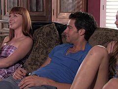 Redhead hottie takes on a hard dick