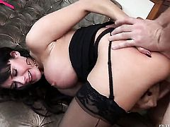 Manuel Ferrara fucks charming Eva Kareras pretty face with his ram rod before backdoor sex