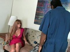 Enjoy this hot interracial video with this sexy milf Darla Crane.Her mischief son has brought some trouble home with him, it's a black hung with a huge black cock and mommy knows only one way to safe her son is to ride that huge black meaty stick.See how she rides and sucks that huge cock till he cums in her lusty mouth.