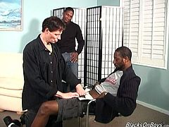 That dirty white faggot gets hard and rough anal sex with two black guy with big stiff cock. Enjoy watching this gay threeway sex.