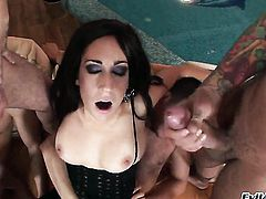 Eloa Lombard takes Ian Scotts cum loaded fuck stick in her hot mouth before she gets assfucked
