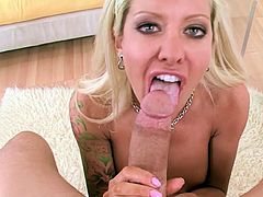 Insolent blonde amazes with her warm lips during top POV blowjob show