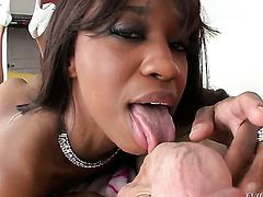 Ebony Jade Nacole takes it in her twat after guys dick becomes stiff and hard